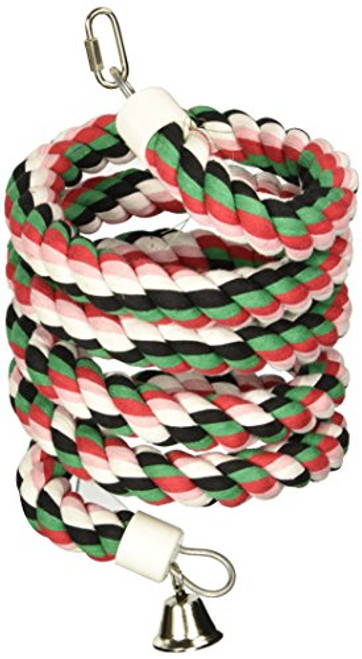 A& E Cage Large Rainbow Cotton Rope Boing With Bell {L-1}644056