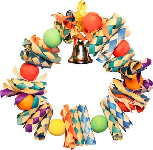Let Your Bird Have Her Own Fiesta Every Day With The Happy Beaks Fiesta Wreath! Colorful Wreath Features Finger Traps, Small Wooden Balls, And A Jingle Bell - All Of These Elements Let Your Bird Have Fun And Fit In Some Exercise At The Same Time. Plus, Yo