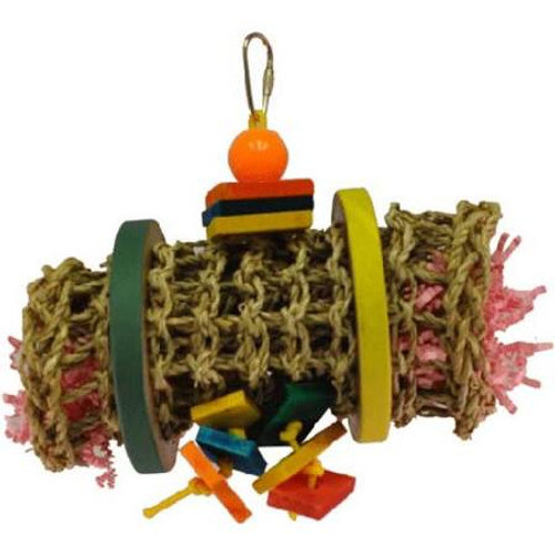 This Small Sea Grass Mat Rolls Up And Secures With Two Birdie Bagels. The Inside Is Stuffed With Lots Of Colorful Shreddable Paper And The Toy Is Strung On Poly Rope With A Plastic Bead And Colored Wood Pieces. Great Shreddable And Foraging Toy That Can B