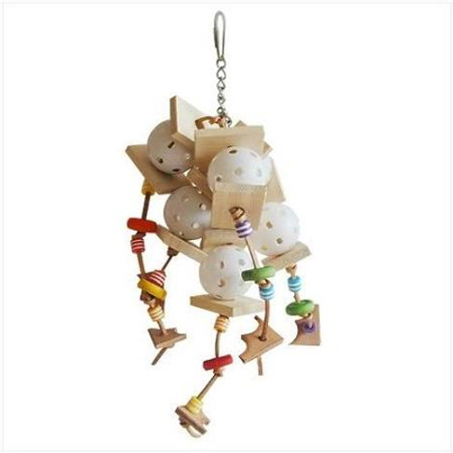 The Wiffler Features All Of The Favored Toys That Keep Your Feathered Friend Feeling Fine. Measuring 14 In. X 5 In., The Toy Includes Ringing Bells, Chewable Softwood, Faux Leather Straps, Colorful Beads And Mini Wiffle Balls. Great For Keeping Your Bird