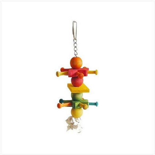 Multicolored Design With Wood Beads And Blocks. Durable Construction For Extended Uses. Easily Clips To The Top Of The Bird Cage.