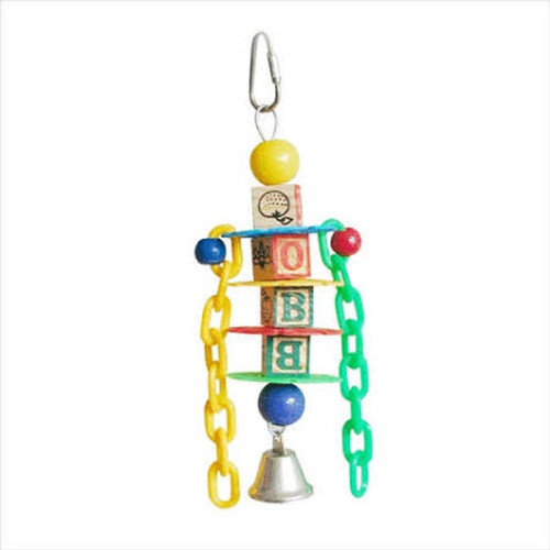 Multicolored Design With Wooden Abc Blocks Plastic Chain Links Plastic Beads And A Bell. Durable Construction For Extended Uses. Easily Clips To The Top Of The Bird Cage.
