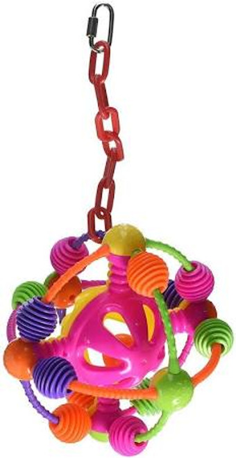 Extraterrestrial-looking Space Ball. Contoured Plastic Shapes. Shapes Orbit Around When Played With For More Interaction. Durable Construction For Extended Uses. Easily Clips To The Top Of The Bird Cage.