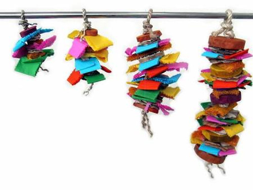 The Java Wood Color Splash Bird Toy Is Stacked With A Rainbow Of Colorful Mixed Materials. Various Textures To Appease Your Pet's Chewing And Foraging Needs.