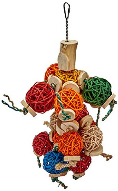 Multicolored Java Wood Toy With Sisal Rope And Round Wicker Balls Durable Construction For Extended Uses Easily Clips To The Top Of The Bird Cage.