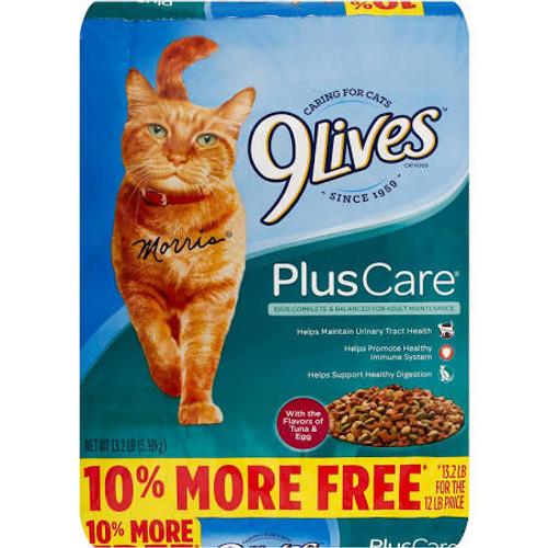 9Lives Plus Care Dry Cat Food 13.3lb799182 {L-1}