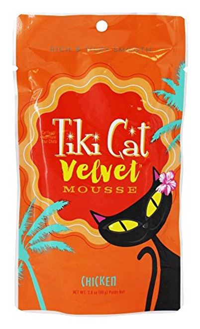 Tiki Cat - Velvet Mousse Cat Food Chicken - 2.8 Oz. (80g) Tiki Cat Velvet Mousse Cat Food Chicken Has Tender Chicken, Chicken Broth And Sunflower Oil Blended Into A Deliciously Creamy Mousse. High Protein, Real Chicken Is The 1st Ingredient, No Grains Or