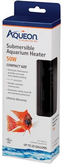 Aqueon Submersible Aquarium Heaters are made from thermal shatter-resistant quartz glass and were designed to absorb impacts, making them extremely durable. A LED indicator light comes on when unit is heating. UL approved, the heater is also programmed to turn itself off when not properly submersed to avoid overheating and damage. Electronic thermostat ranges from 68ø to 88øF. The suction cups make horizontal or vertical installation quick and easy.  Shatter resistant  Adjustable heat setting 68 to 88øF  Precise temperature setting to 1ø  Auto Shut-off  LED light turns on when aquarium water is being heated