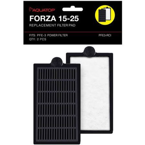 The FORZA 15-25 replacement cartridge insert is made of strong poly-fiber and collects organic debris for easy removal. Filled with AquaTop¡s Premium Activated Carbon, these replacement cartridges are extremely easy to install and help keep aquarium water crystal clear and free from odor.