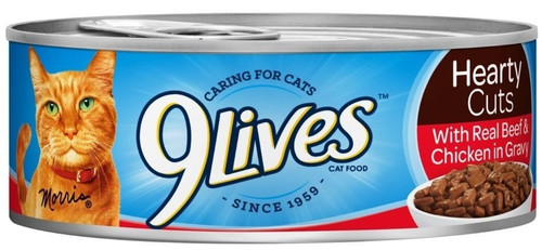 9 Lives Hearty Cuts With Real Chicken Beef In Gravy Canned Cat Food-5.5-oz, Case Of 24-{L+1}