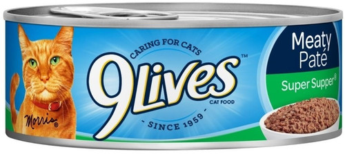 9 Lives Meaty Pate Super Supper Cat Food Combines Savory Ground Meat, Choice Chicken, And Succulent Fish Simmered In Real Broth For A Hearty Meal That Will Have Your Cat Purring For More.