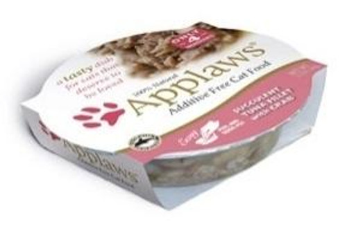 Applaws Succulent Tuna Fillet With Crab Contains Nothing More Than The Ingredients Listed. Applaws Is A Completely Natural Complementary Pet Food For Adult Cats.