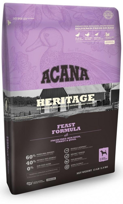 """""""acana's Heritage Feast Recipe Is A Grain-free, Protein-packed Recipe Loaded With Over 60% Premium Animal Ingredients Including Fresh Free Run Duck, Turkey And Quail, And Features An Unmatched Variety Of Local Ingredients That Are Raised By People They Kn"""