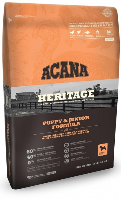 Acana's Heritage Puppy & Junior Is A Grain-free, Protein-packed Recipe Loaded With Over 60% Of Premium Animal Ingredients Including Free-run Chicken, Free-run Turkey, Wild-caught Flounder And Whole Nest-laid Eggs. All Ingredients Are Raised And Fished On