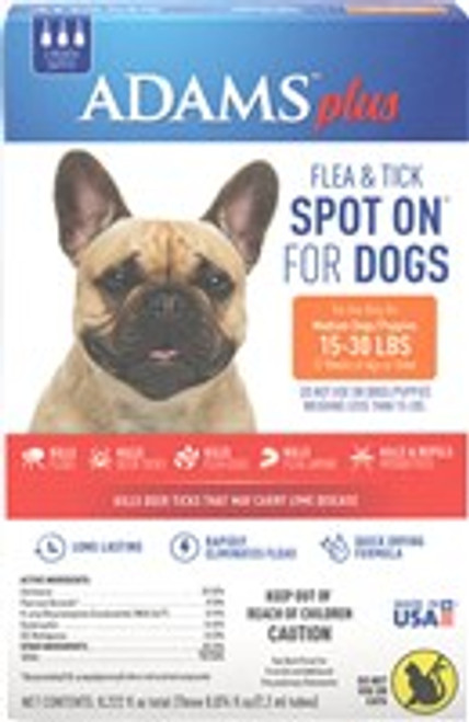Adams Plus Flea   Tick Spot On for Dogs provides flea and tick protection for dogs for up to 30 days - and protection from flea and tick infestation beyond. That #;s because it doesn #;t just kill adult fleas and ticks, it also prevents infestation
