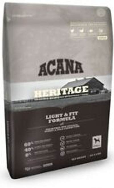 Acana Heritage Light & Fit 12oz Dry Dog Food LIGHT & FIT WITH FRESH FREE-RUN CHICKEN, TURKEY & WILD-CAUGHT FISH ALL BREEDS | ADULT MAINTENANCE By nature, all dogs are evolved as carnivores, biologically adapted for a diet rich and varied in fresh meats with smaller amounts of fruits and vegetables. FEATURES 60% MEAT | LOADED WITH PROTEIN 1/2 FRESH OR RAW MEAT | 1/2 DRIED MEAT 3 FRESH MEATS | LOCALLY SOURCED WHOLEPREY | SUPERFOOD FOR DOGS FREEZE-DRY INFUSED | INTENSE NATURAL FLAVOR WHOLE VEGETABLES, FRUITS & LOCAL BOTANICALS | NON-GMO WHOLEPREY DIET POULTRY | ORGANS | CARTILAGE In her eternal wisdom, Mother Nature matched the nutrients found in whole prey animals to perfectly meet the needs of your dog. Mirroring nature, ACANA foods feature a richly nourishing balance of muscle meat, organs and cartilage ? all of which reflect the whole prey animal, delivering nutrients naturally. AMERICA?S BEST AND FRESHEST INGREDIENTS Deboned chicken, deboned turkey, turkey meal, chicken meal, whole red lentils, whole green peas, whole yellow peas, lentil fiber, atlantic flounder, chicken giblets, chicken broth, dried pumpkin, whole green lentils, whole pinto beans, whole chickpeas, herring meal, pollock oil, natural chicken flavor, whole dried egg, chicken cartilage, mixed tocopherols (preservative), whole pumpkin, collard greens, whole carrots, whole apples, dried kelp, zinc proteinate, calcium pantothenate, freeze-dried chicken liver, freeze-dried turkey liver, chicory root, turmeric, sarsaparilla root, althea root, rose hips, juniper berries, dried lactobacillus acidophilus fermentation product, dried bifidobacterium animalis fermentation product, dried lactobacillus casei fermentation product. GUARANTEED ANALYSIS Crude protein (min.) 33 % Crude fat (min.) 10 % Crude fiber (max.) 8 % Moisture (max.) 12 %
