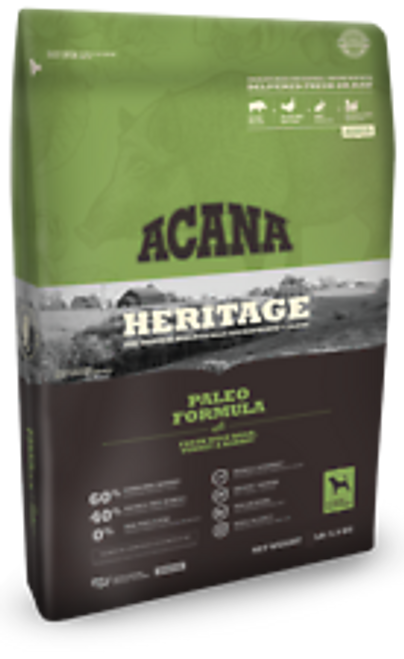 All breeds and life stages can benefit from acana heritage paleo formula dog food. It features 60% premium animal ingredients that provide a 29% protein inclusion rate a diet truly fit for a carnivore. These meats are delivered to acanas kentucky kitchens fresh from texas, indiana and of course, kentucky. Other regional ingredients vegetables and fruits that are low glycemic and offer vitamins and minerals unique to plants. Lentils, peas, chickpeas and pumpkin are all added to the mix, creating a dry food formula that needs no synthetic vitamins or minerals just like nature intended. Another excellent source of nutrients that is often overlooked in commercial dog foods are organs and edible bones. While most of the meat in acana heritage paleo formula dog food is quality deboned muscle meat, organs like wild boar liver, heart and cartilage are also d because they offer unmatched sources of natural vitamins and minerals. Your dogs wild ancestors did not hesitate to eat these nutrient-packed superfoods, and in acana heritage paleo formula dog food, they help ensure that added vitamins and minerals are unnecessary. This biologically appropriate food is approved by the aafco for all life stages.