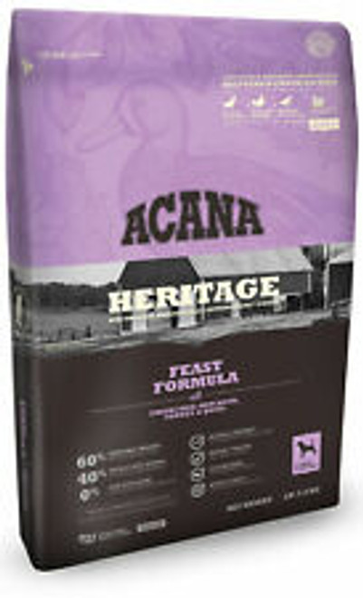 Acana meat ingredients in wholeprey ratios with meat, organs and cartilage to deliver the best form of vitamins and minerals to your pup. You wont find a long list of synthetic additives because this aafco-approved food provides everything your dog needs, naturally. Grains, potatoes and gluten are also excluded from the ingredient list, with only nutritious vegetables, fruits and botanicals accompanying the meat in acana heritage feast formula dog food.