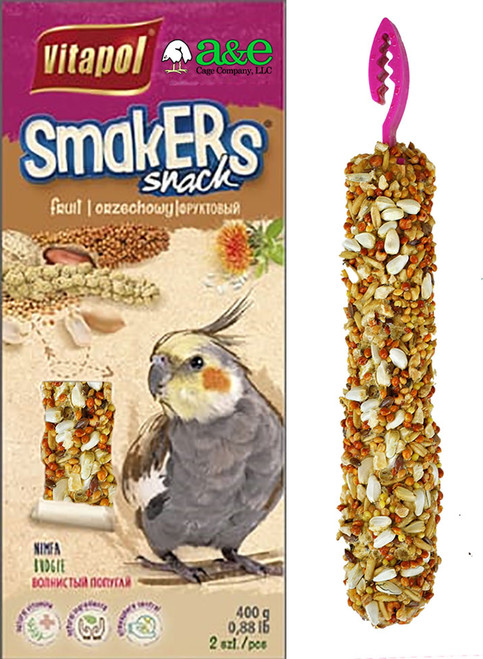 Smakers Bird Treat Sticks are formed with the highest quality ingredients and shaped to stimulate the natural eating habits of birds in the wild.  Each hand made stick is sized to match the feeding capabilities and sizes of various species of birds.  These treats are dehydrated and not baked to insure that the bird is receiving maximum nutrition to compliment their daily diet.