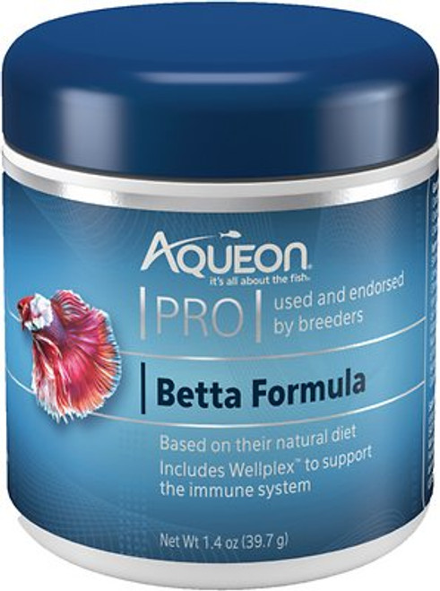 Betta naturally live in small puddles where resources are limited. The Aqueon PRO Betta Formula was developed by expert fish nutritionists with quality protein and plant nutrients for long term wellness. The floating pellets encourage the natural surface feeding behavior of bettas. Inclusion of the Wellplex adds additional immune system support in addition to the probiotic ingredients throughout the formulation.