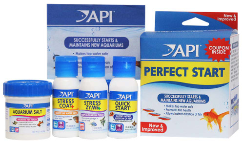 API Perfect Start is a unique aquarium starter program that provides everything you need to kick start your new aquarium, keeping your fish healthy and your water clean and crystal clear. API has hand picked the top products you'll need as you start your brand new aquarium. Good for both cold water and tropical aquariums. Use when starting a new aquarium.