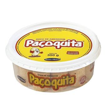 Tradicional produto brasileiro à base de amendoim, formato rolha desembalada.