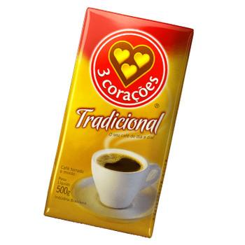 Café à Vácuo Torrado e Moído Tradicional 3 CORAÇÕES Caixa 500g