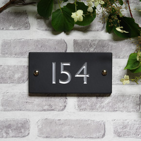 Slate Rectangle House Number  - Classic Font