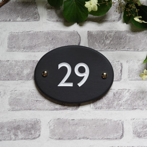 Slate Oval House Number - Classic Font