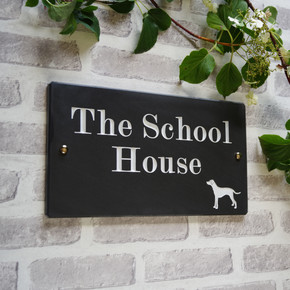 Slate House Sign with Animal -  Traditional Font