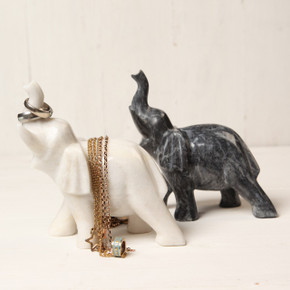 Marble Elephant Ring Holder