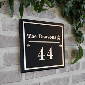 Slate Designer House Sign - Traditional Font
