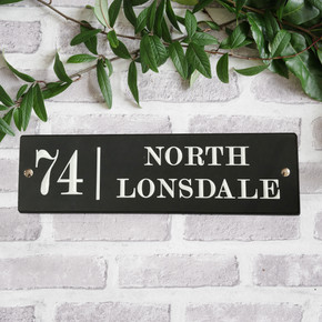 Slate Modern House Sign - Traditional Font