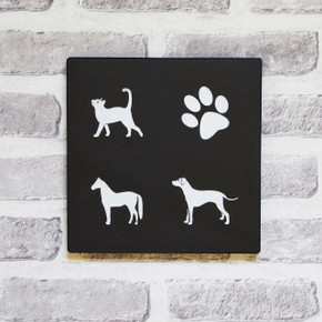 Slate House Sign with Animal  Classic Font
