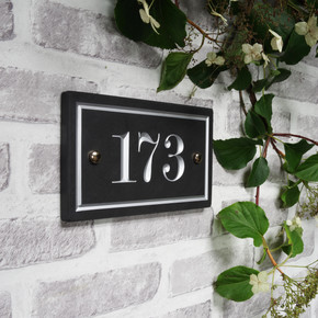 Slate Rectangle House Number  - Traditional Font