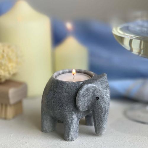 Marble Elephant T Light