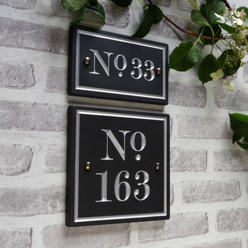 Slate Large Vintage House Number - Traditional Font