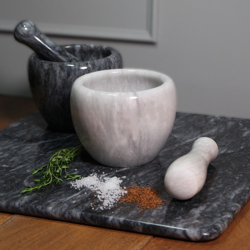 Marble Curved Pestle & Mortar