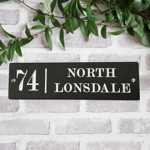Slate Modern House Sign - Traditional Font