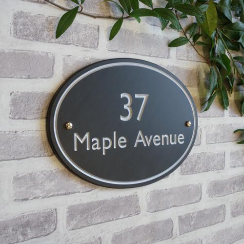 Slate Oval House Sign  - Classic Font