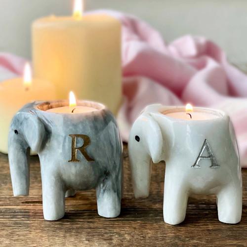 Personalised  Marble Elephant T Light