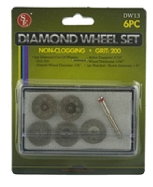 SE 6pc Diamond Wheels with Mandrel Set:Non-Clogging, Grit: 200