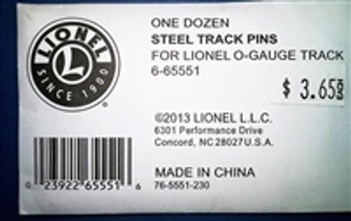 Lionel O Tubular Track - 12 steel track pins