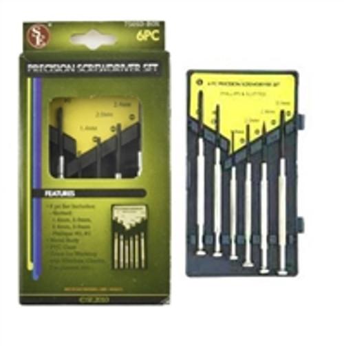 SE  6Pc Precision Screwdriver Set, 4 Slotted, 2 Philips, Metal Body, PVC Case,