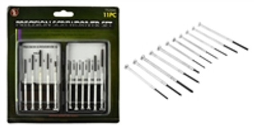 SE  11Pc Precision Screwdriver Set, 3 Phillips, 6 Slotted, 1 Awl and 1Pc Magnetic Tip