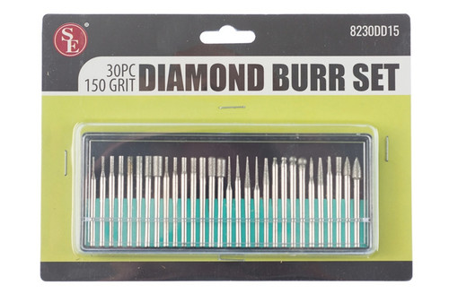 SE 30 piece Diamond Burrs 150 Grit  with 1/8 inch shank