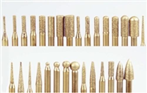 SE 30pc Titanium Coated Assorted Diamond Burrs : Grit 120-150