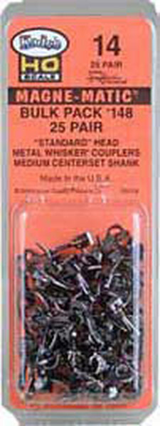 Kadee No, 148 HO scale Whisker Couplers.  Bulk pack of 25 pairs.