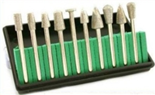 10pc High Quality Assorted Shape HeadSE  Diamond Burrs Set : Grit 150, Assorted Head Sizes: 3/16 - 5 1/6