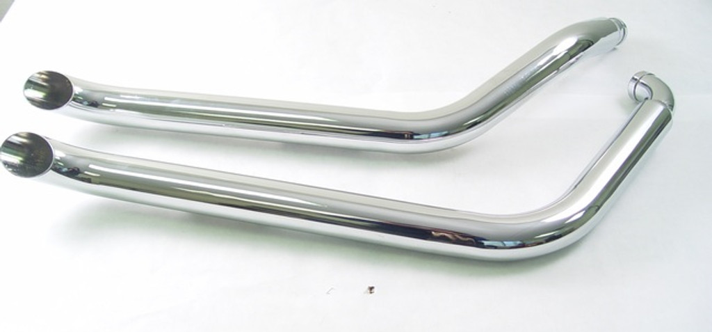 "Chrome 1 3/4 "" Drag Pipes for Harley FXST 1986-2003 Long With Chrome End Tip"